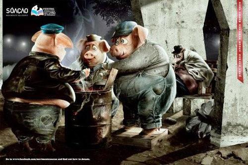 Бездомные три поросенка